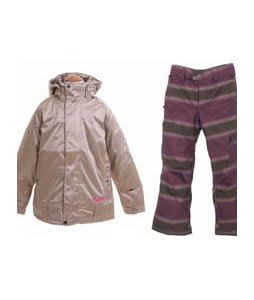 Burton Reflex Jacket Glimmer w/ Burton The White Collection Cosmic Delight Pants Mocha Faded Stripe