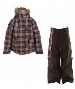Sessions Bunny Ski Jacket Desert Avery Plaid w/ Burton Cargo Snow Pants Mocha