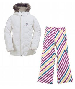 Burton Allure Puffy Jacket Bright White w/ Burton Elite Snow Pants Diag Stripe Banana