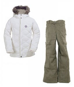 Burton Allure Puffy Jacket Bright White w/ Burton Cargo Smalls Pants Burlap