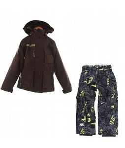 Burton Modem Jacket Mocha w/ Ride Charger Youth Snow Pants Ruckus Print Lime