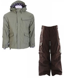 Ride Hemi Youth Jacket Olive w/ Burton Cargo Snow Pants Mocha