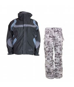 Bonfire Fusion Reflection Jacket Graphite/Ocean w/ Burton Fly Pants Shark Pop Camo