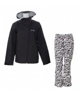 Burton 2.5L Jacket True Black w/ Burton Lucky Pants Black Labrinth Print