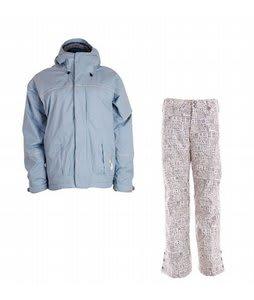 Bonfire Fusion Aura Jacket Ocean w/ Burton Mighty Snowboard Pant Chestnut Paper Print