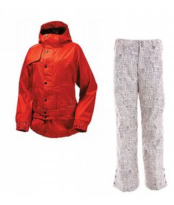 Burton After Hours Jacket Infared w/ Burton Mighty Snowboard Pant Chestnut Paper Print