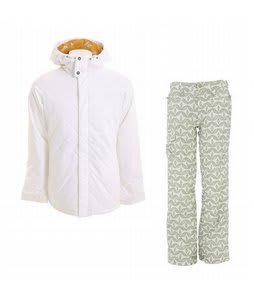 Burton TWC Cozy A-Line Jacket Bright White w/ Foursquare Fuji Pants Rejuvenate Biggie Dots