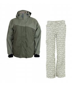 Sessions Siryn 4 in 1 Jacket Drab w/ Foursquare Fuji Pants Rejuvenate Biggie Dots