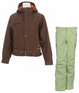 Burton After Hours Jacket Roasted Brown w/ Foursquare Newberry Pants Asparagus