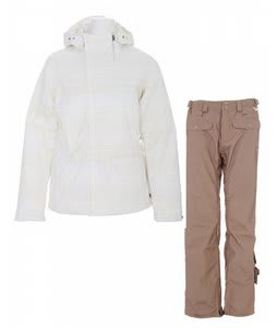 Burton Dante Jacket Bright White Diamond Stripe Jaquard w/ Foursquare Sammoff Pants Tan Toof