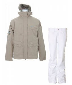 Special Blend Shifter Jacket Tan Check Grid w/ Special Blend Duchess Pants White