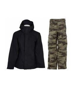 Bonfire Evolution Jacket Black w/ Sessions Movement Pants Green Camo