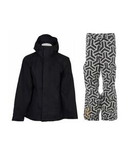 Bonfire Evolution Jacket Black w/ Sessions Neff Print Pants White/Black