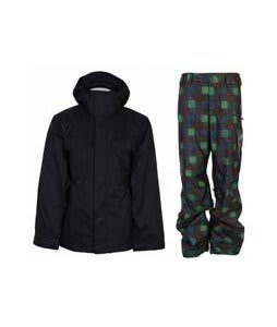 Bonfire Rainier Jacket Black w/ Burton Poacher Pants Mocha Native Plaid