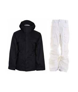 Bonfire Rainier Jacket Black w/ Burton Ronin Cargo Pants Leopard