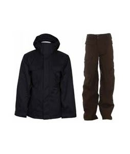 Bonfire Rainier Jacket Black w/ Burton Ronin Cargo Pants Mocha