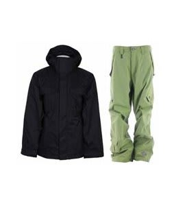 Bonfire Rainier Jacket Black w/ Sessions Achilles Pants Lime