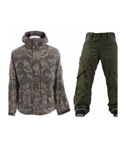 Burton Arctic Jacket Mosaic Hazel w/ Foursquare Q Pants Portland Pine