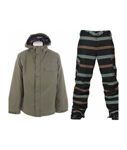Burton Bad Moon Rising Jacket Beetle w/ Burton Cargo Snowboard Pant True Black Bandwidth Stripe Print