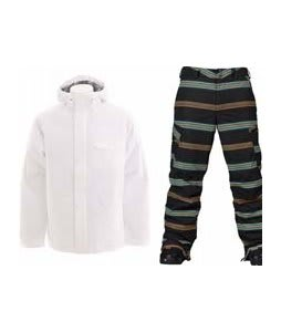 Burton Bad Moon Rising Jacket Bright White w/ Burton Cargo Snowboard Pant True Black Bandwidth Stripe Print