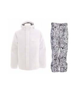 Burton Bad Moon Rising Jacket Bright White w/ Burton Vent Pants Good Trip Print