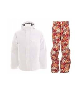Burton Bad Moon Rising Jacket Bright White w/ Foursquare Wong Pants Fall Leaves