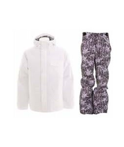 Burton Bad Moon Rising Jacket Bright White w/ Foursquare Trappe Pants Black Leaves