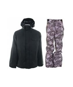 Burton Bad Moon Rising Jacket True Black w/ Foursquare Trappe Pants Black Leaves