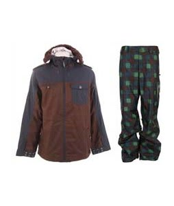 Burton Captain Tripps Jacket Mocha w/ Burton Poacher Pants Mocha Native Plaid