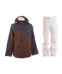 Burton Captain Tripps Jacket Mocha w/ Burton Ronin Cargo Snowboard Pant Bright White
