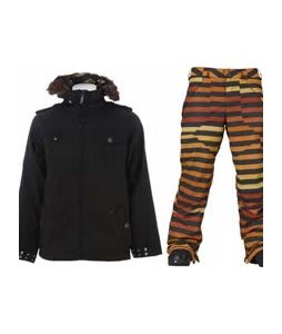 Burton Captain Tripps Jacket True Black w/ Burton Poacher Pants Hydrant Big Stripe Fade