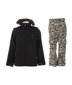 Burton Captain Tripps Jacket True Black w/ Burton Vent Pants Shadow Camo Print