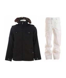 Burton Captain Tripps Jacket True Black w/ Burton Ronin Cargo Snowboard Pant Bright White
