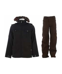 Burton Captain Tripps Jacket True Black w/ Burton Ronin Cargo Pants Mocha