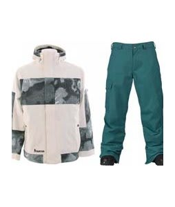 Burton Cosmic Delight Jacket Bright White w/ Burton Cargo Pants Gmp Iroquois