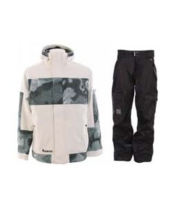 Burton Cosmic Delight Jacket Bright White w/ Ride Belltown Pants Black