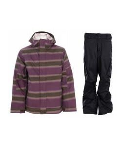 Burton Cosmic Delight Jacket Mocha Faded Stripe Print w/ Burton Fife Pants True Black