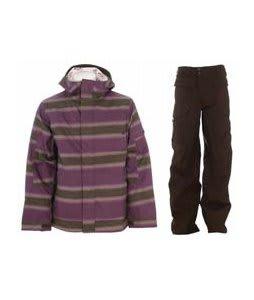 Burton Cosmic Delight Jacket Mocha Faded Stripe Print w/ Burton Ronin Cargo Pants Mocha