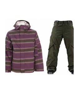 Burton Cosmic Delight Jacket Mocha Faded Stripe Print w/ Foursquare Q Pants Portland Pine