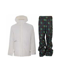 Burton Defender Jacket Bright White w/ Burton Poacher Pants Mocha Native Plaid