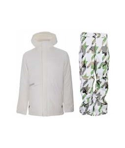 Burton Defender Jacket Bright White w/ Burton Cargo Pants Bright White Hounds