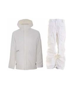 Burton Defender Jacket Bright White w/ Burton Ronin Cargo Pants Leopard