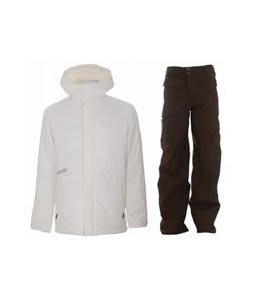 Burton Defender Jacket Bright White w/ Burton Ronin Cargo Pants Mocha
