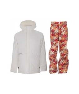 Burton Defender Jacket Bright White w/ Foursquare Wong Pants Fall Leaves