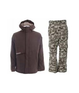 Burton Defender Jacket Mocha w/ Burton Vent Pants Shadow Camo Print