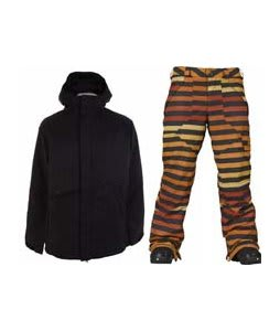 Burton Defender Jacket True Black w/ Burton Poacher Pants Hydrant Big Stripe Fade