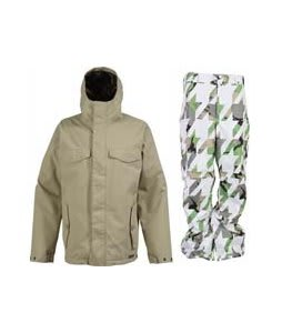 Burton Entourage Jacket Sandstoner w/ Burton Cargo Pants Bright White Hounds