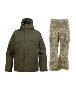 Burton Entourage Jacket Trench Green w/ Burton Cargo Pants Mosaic Martini