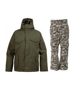 Burton Entourage Jacket Trench Green w/ Burton Vent Pants Shadow Camo Print