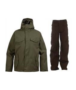 Burton Entourage Jacket Trench Green w/ Burton Ronin Cargo Pants Mocha